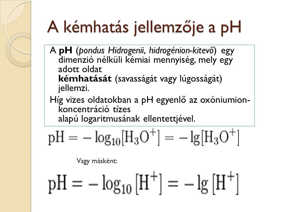 A kémhatás jellemzője a pH A pH (pondus Hidrogenii, hidrogénion-kitevő) egy dimenzió nélküli kémiai mennyiség, mely egy adott oldat kémhatását (savass