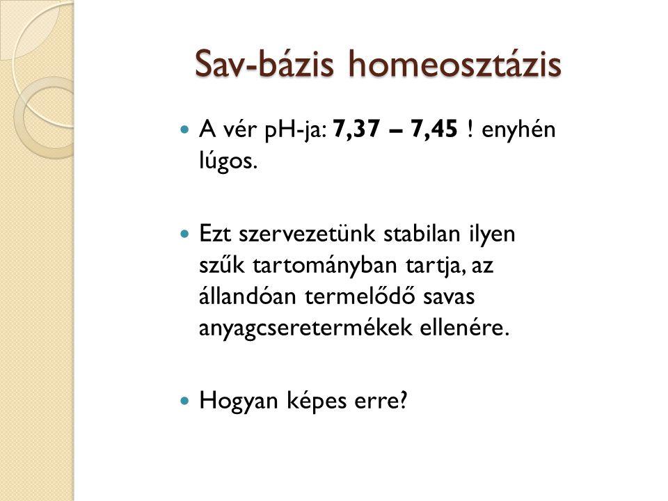 Sav-bázis homeosztázis  A vér pH-ja: 7,37 – 7,45 ! enyhén lúgos.  Ezt szervezetünk stabilan ilyen szűk tartományban tartja, az állandóan termelődő s