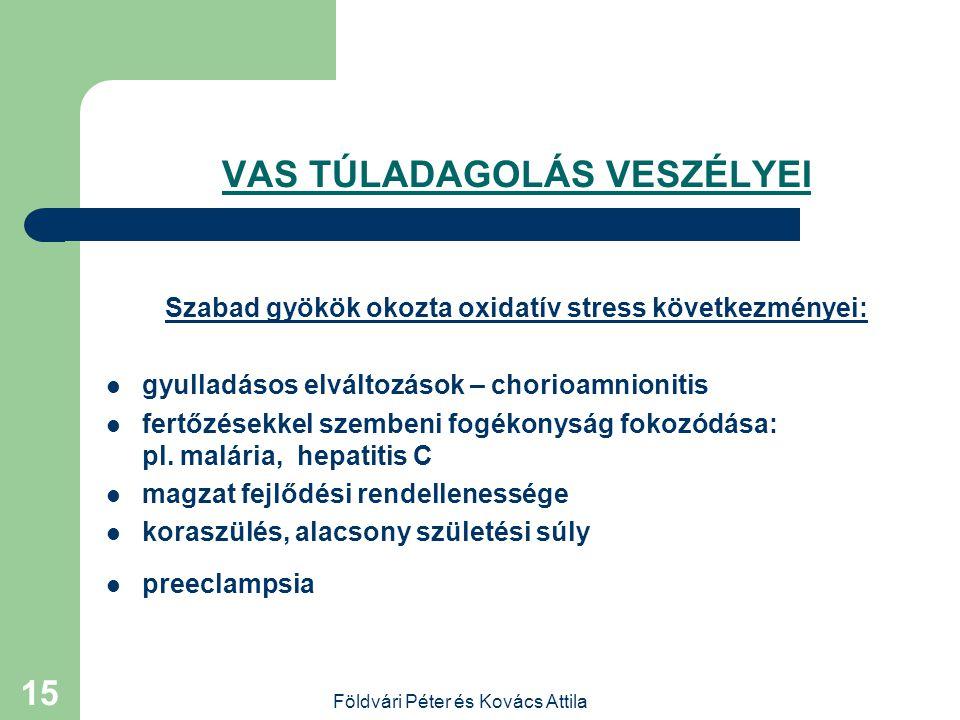 Földvári Péter és Kovács Attila 14 VAS TÚLADAGOLÁS 100 mg/d vagy ennél nagyobb vas adagok esetén elmaradhat a fizi- ológiás haemoglobin szint csökke-