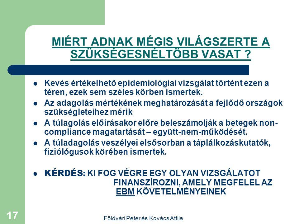 Földvári Péter és Kovács Attila 16 Ajánlás  1.  20  g/L ferritin szint, vagy 110 g/L hgb szint felett ne adjunk vasat az 1. és 2. tri- mesterben 