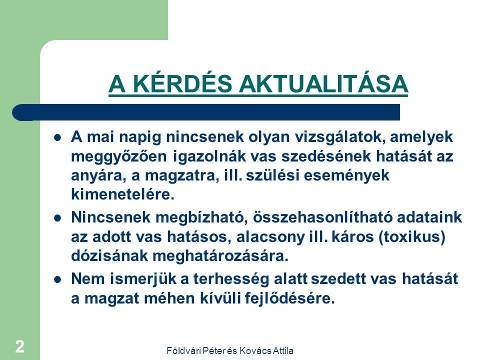 Földvári Péter és Kovács Attila 1 Vas-supplementáció kérdései terhességben Dr.Földvári Péter és Dr. Kovács Attila Europ-Med Kft, Budaörs Europp-Med Kf