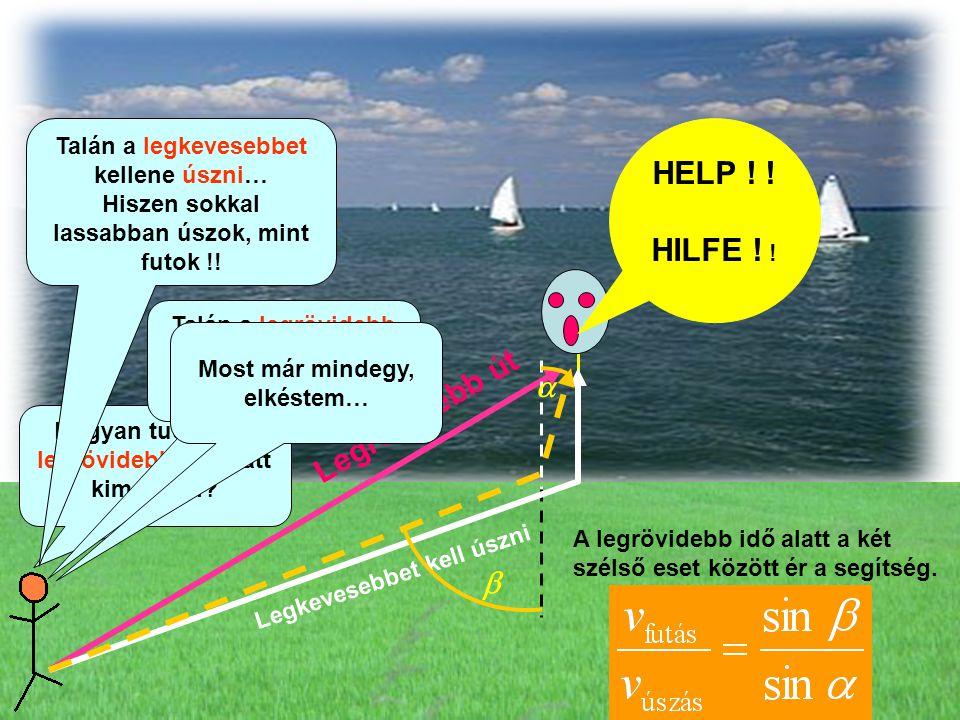HELP ! ! HILFE ! ! Legrövidebb út Legkevesebbet kell úszni A legrövidebb idő alatt a két szélső eset között ér a segítség. Hogyan tudnám a legrövidebb