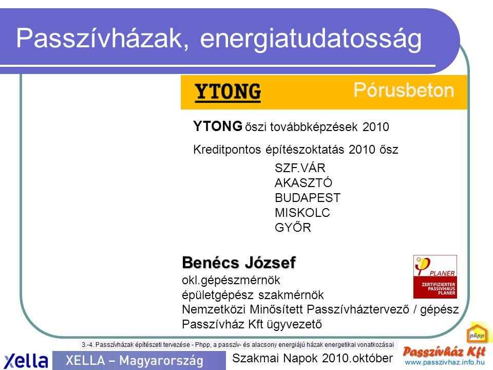 Passzívházak, energiatudatosság Szakmai Napok 2010.október YTONG őszi továbbképzések 2010 Kreditpontos építészoktatás 2010 ősz SZF.VÁR AKASZTÓ BUDAPES