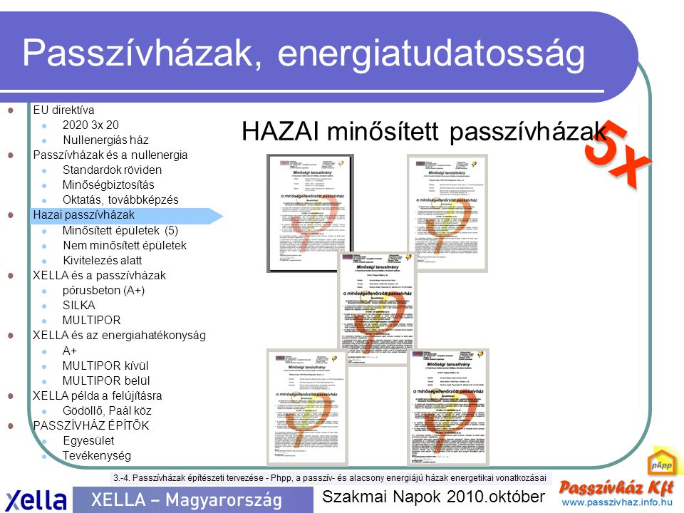 5x Passzívházak, energiatudatosság  EU direktíva  2020 3x 20  Nullenergiás ház  Passzívházak és a nullenergia  Standardok röviden  Minőségbiztos