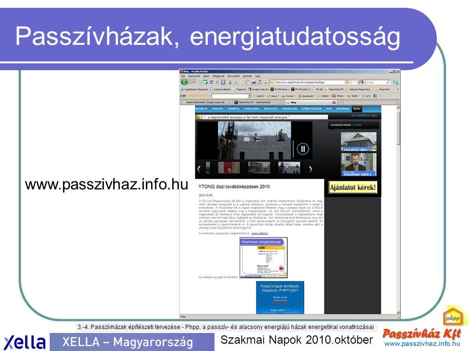 Passzívházak, energiatudatosság  EU direktíva  2020 3x 20  Nullenergiás ház  Passzívházak és a nullenergia  Standardok röviden  Minőségbiztosítás  Oktatás, továbbképzés  Hazai passzívházak  Minősített épületek (5)  Nem minősített épületek  Kivitelezés alatt  XELLA és a passzívházak  pórusbeton (A+)  SILKA  MULTIPOR  XELLA és az energiahatékonyság  A+  MULTIPOR kívül  MULTIPOR belül  XELLA példa a felújításra  Gödöllő, Paál köz  PASSZÍVHÁZ ÉPÍTŐK  Egyesület  Tevékenység Szakmai Napok 2010.október Passzívház Építők, tevékenység - passzívház tervezők összefogása - passzívház kivitelezők integrálása - passzívház komponensek gyártóinak közreműködése - Nemzetközi passzívház Nyíltnapok szervezése (7.Nemzetközi Nyíltnap 2010.november 12-13-14.) - Gyakorlati tapasztalatokon alapuló oktatás szervezése - ZÖLD KÖNYV kiadása - minősítésekben közreműködés (a Darmstadti Passzívház Intézet eljárása szerint) - kiadványok, oktatási segédletek közreadása