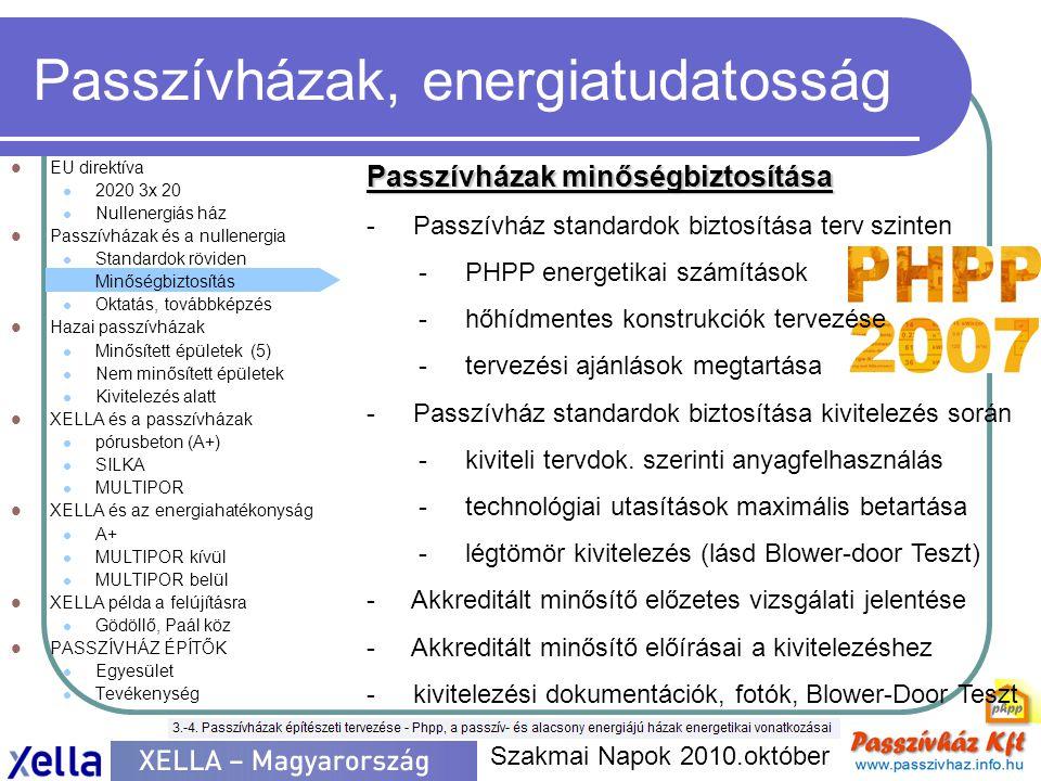 Passzívházak, energiatudatosság  EU direktíva  2020 3x 20  Nullenergiás ház  Passzívházak és a nullenergia  Standardok röviden  Minőségbiztosítás  Oktatás, továbbképzés  Hazai passzívházak  Minősített épületek (5)  Nem minősített épületek  Kivitelezés alatt  XELLA és a passzívházak  pórusbeton (A+)  SILKA  MULTIPOR  XELLA és az energiahatékonyság  A+  MULTIPOR kívül  MULTIPOR belül  XELLA példa a felújításra  Gödöllő, Paál köz  PASSZÍVHÁZ ÉPÍTŐK  Egyesület  Tevékenység Szakmai Napok 2010.október Oktatás, továbbképzés - Nemzetközi Oktatási rendszer
