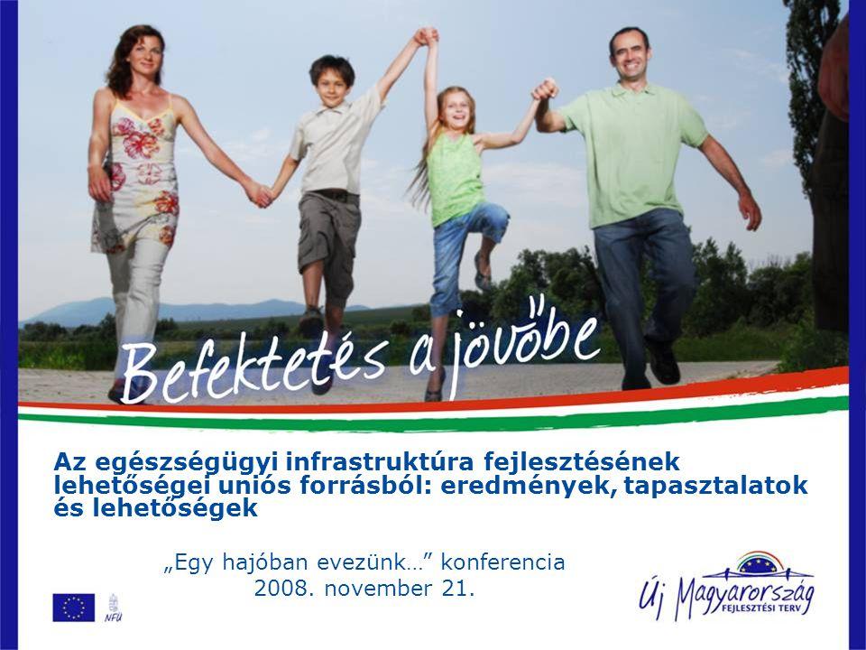 """Az egészségügyi infrastruktúra fejlesztésének lehetőségei uniós forrásból: eredmények, tapasztalatok és lehetőségek """"Egy hajóban evezünk… konferencia 2008."""