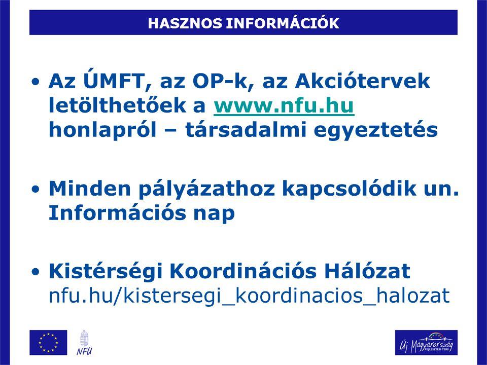 HASZNOS INFORMÁCIÓK •Az ÚMFT, az OP-k, az Akciótervek letölthetőek a www.nfu.hu honlapról – társadalmi egyeztetéswww.nfu.hu •Minden pályázathoz kapcsolódik un.
