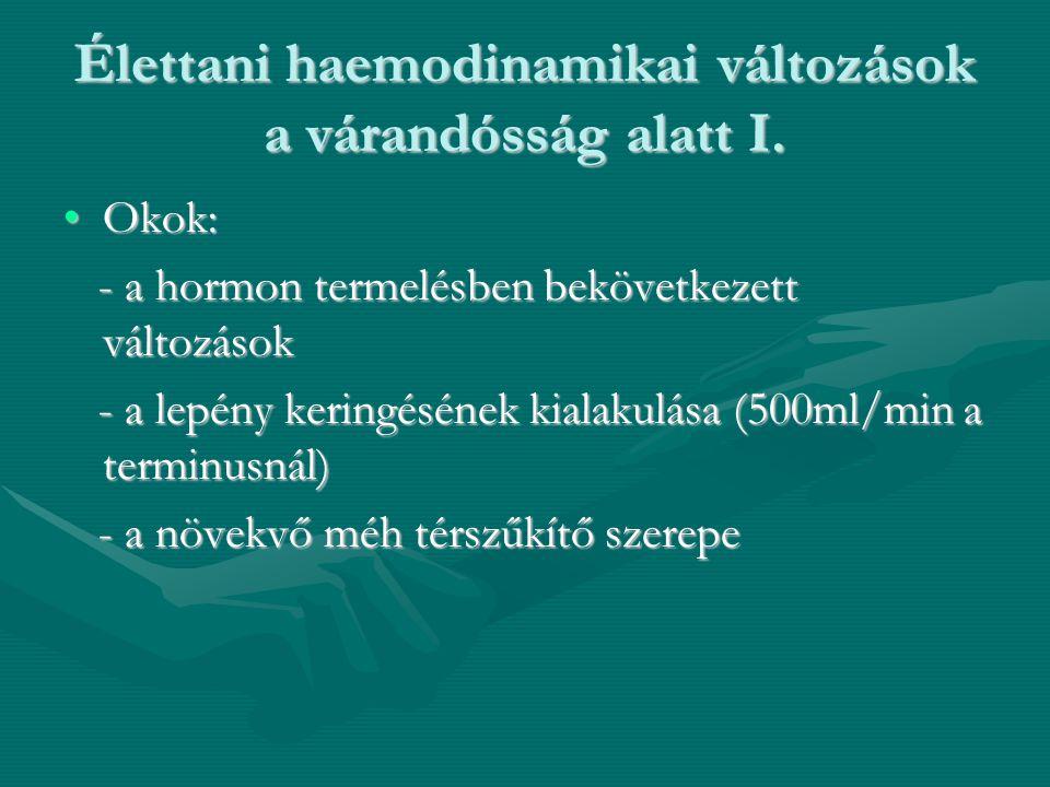 Élettani haemodinamikai változások a várandósság alatt I. •Okok: - a hormon termelésben bekövetkezett változások - a hormon termelésben bekövetkezett