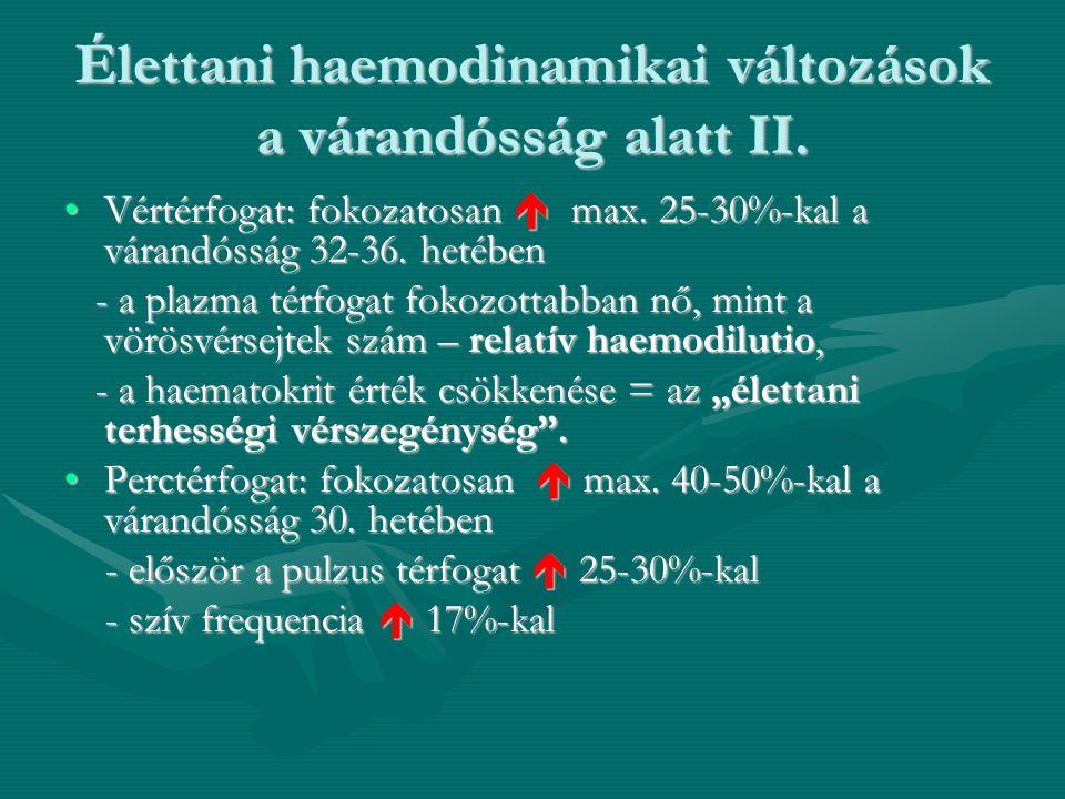 Élettani haemodinamikai változások a várandósság alatt II. •Vértérfogat: fokozatosan  max. 25-30%-kal a várandósság 32-36. hetében - a plazma térfoga