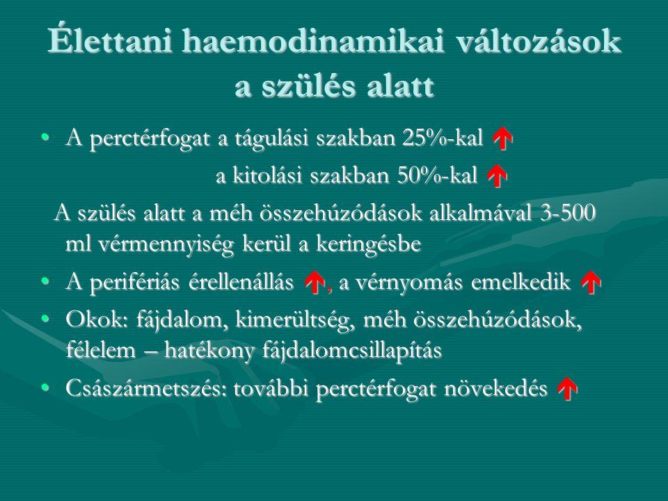 Élettani haemodinamikai változások a szülés alatt •A perctérfogat a tágulási szakban 25%-kal  a kitolási szakban 50%-kal  a kitolási szakban 50%-kal