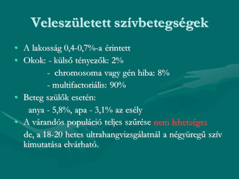 Veleszületett szívbetegségek •A lakosság 0,4-0,7%-a érintett •Okok: - külső tényezők: 2% - chromosoma vagy gén hiba: 8% - chromosoma vagy gén hiba: 8%
