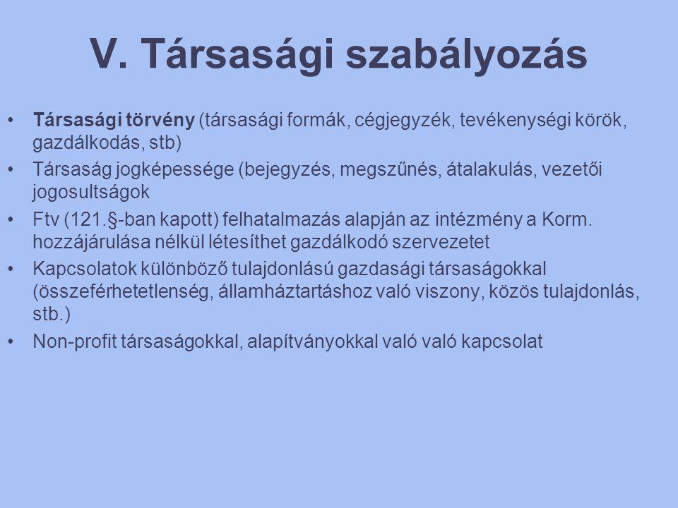 V. Társasági szabályozás •Társasági törvény (társasági formák, cégjegyzék, tevékenységi körök, gazdálkodás, stb) •Társaság jogképessége (bejegyzés, me