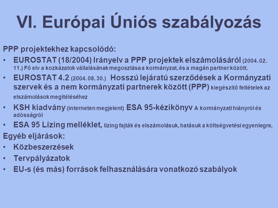 VI. Európai Úniós szabályozás PPP projektekhez kapcsolódó: •EUROSTAT (18/2004) Irányelv a PPP projektek elszámolásáról (2004. 02. 11.) Fő elv a kozkáz