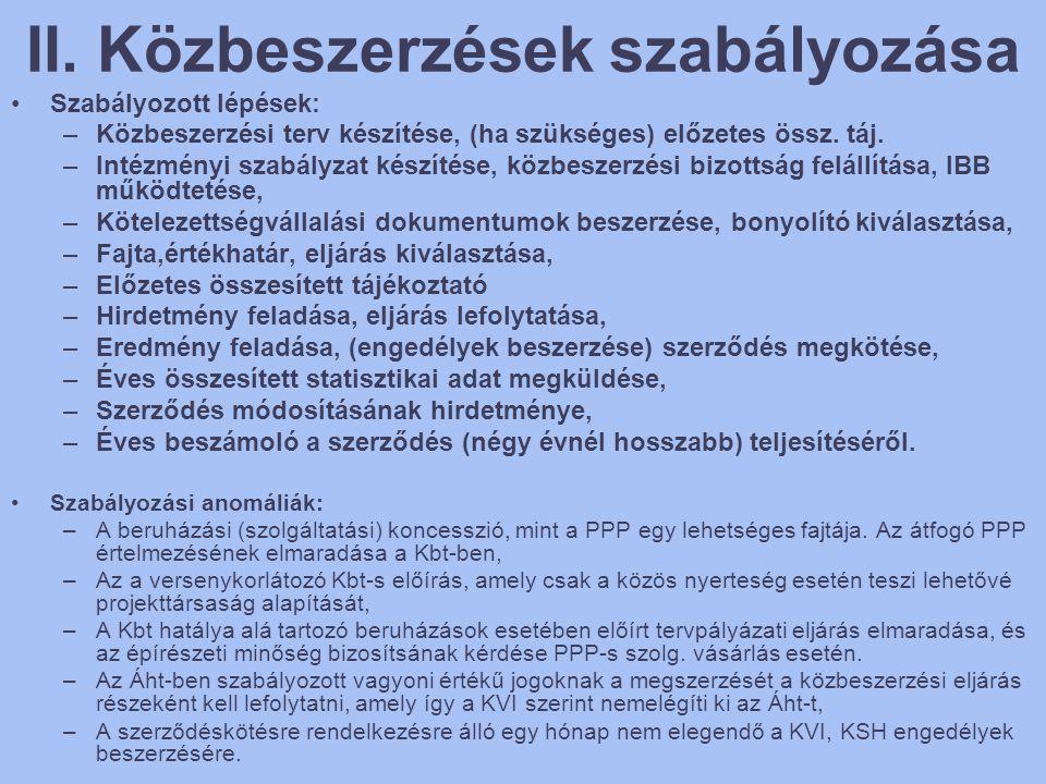II. Közbeszerzések szabályozása •Szabályozott lépések: –Közbeszerzési terv készítése, (ha szükséges) előzetes össz. táj. –Intézményi szabályzat készít