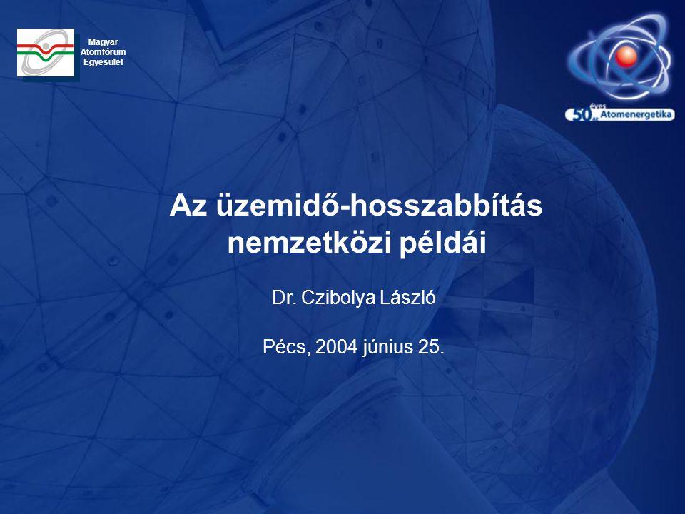 Dr. Czibolya László Pécs, 2004 június 25. Az üzemidő-hosszabbítás nemzetközi példái Magyar Atomfórum Egyesület