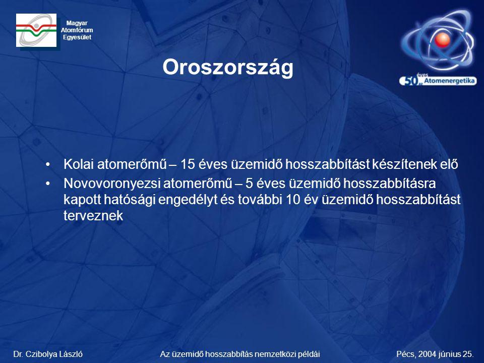 Dr. Czibolya LászlóPécs, 2004 június 25.Az üzemidő hosszabbítás nemzetközi példái Magyar Atomfórum Egyesület Oroszország •Kolai atomerőmű – 15 éves üz