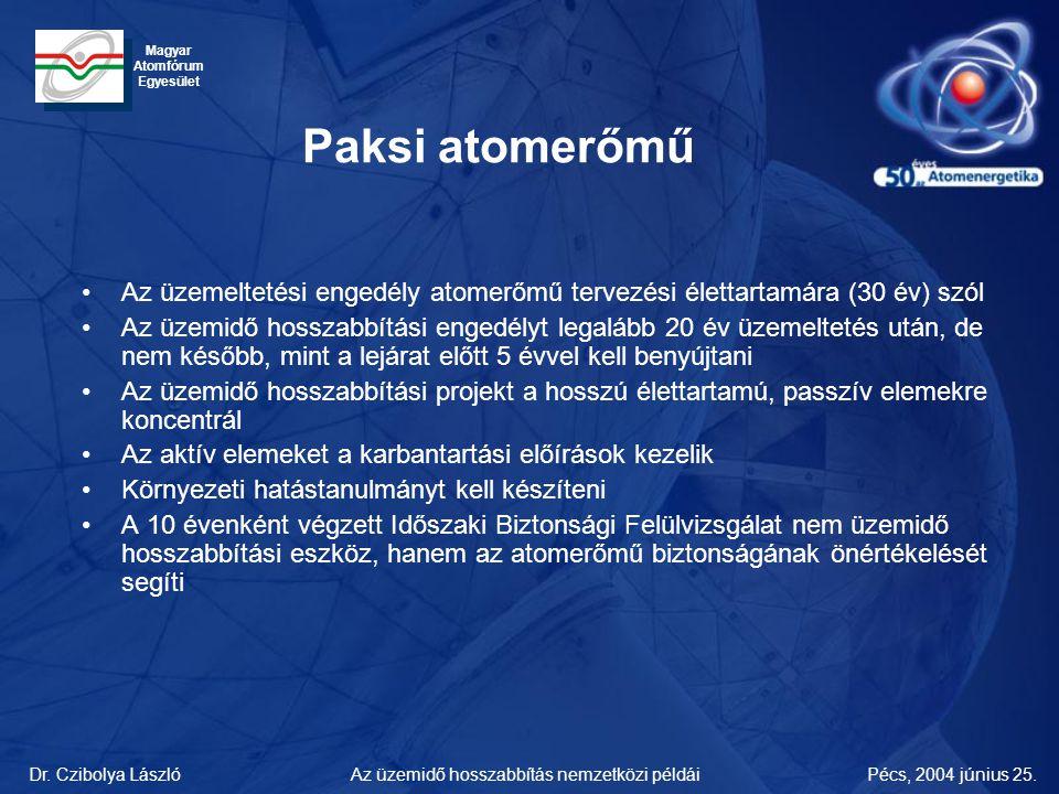 Dr. Czibolya LászlóPécs, 2004 június 25.Az üzemidő hosszabbítás nemzetközi példái Magyar Atomfórum Egyesület Paksi atomerőmű •Az üzemeltetési engedély