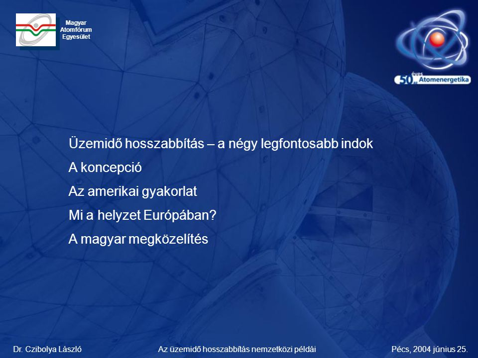 Dr. Czibolya LászlóPécs, 2004 június 25.Az üzemidő hosszabbítás nemzetközi példái Magyar Atomfórum Egyesület Üzemidő hosszabbítás – a négy legfontosab