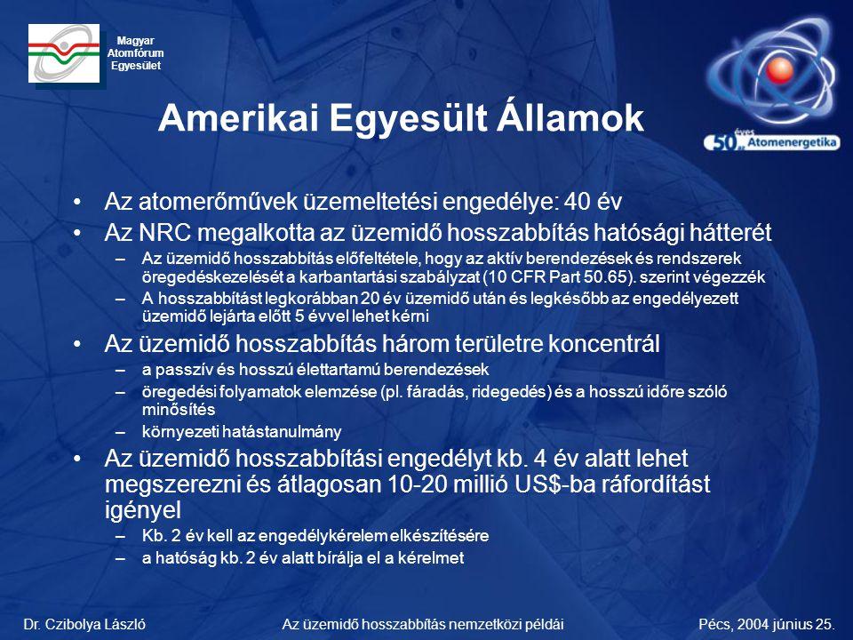 Dr. Czibolya LászlóPécs, 2004 június 25.Az üzemidő hosszabbítás nemzetközi példái Magyar Atomfórum Egyesület Amerikai Egyesült Államok •Az atomerőműve