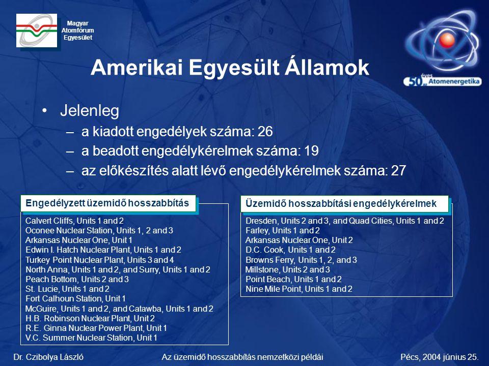 Dr. Czibolya LászlóPécs, 2004 június 25.Az üzemidő hosszabbítás nemzetközi példái Magyar Atomfórum Egyesület Amerikai Egyesült Államok •Jelenleg –a ki