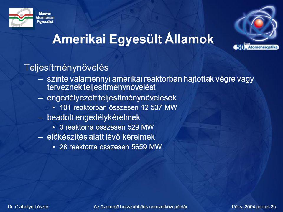 Dr. Czibolya LászlóPécs, 2004 június 25.Az üzemidő hosszabbítás nemzetközi példái Magyar Atomfórum Egyesület Amerikai Egyesült Államok Teljesítménynöv