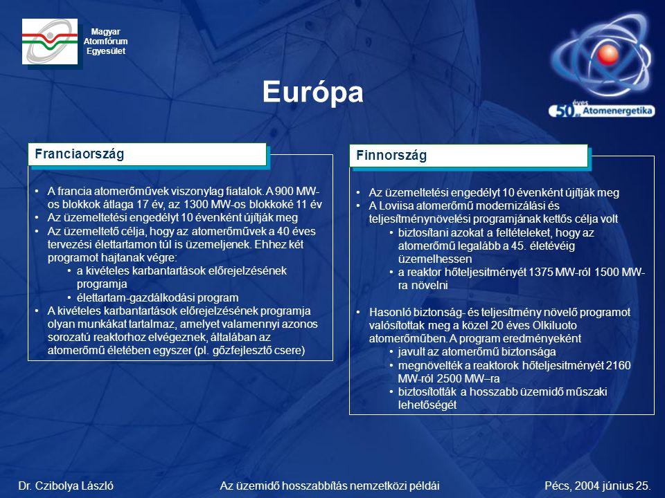 Dr. Czibolya LászlóPécs, 2004 június 25.Az üzemidő hosszabbítás nemzetközi példái Magyar Atomfórum Egyesület Európa •A francia atomerőművek viszonylag