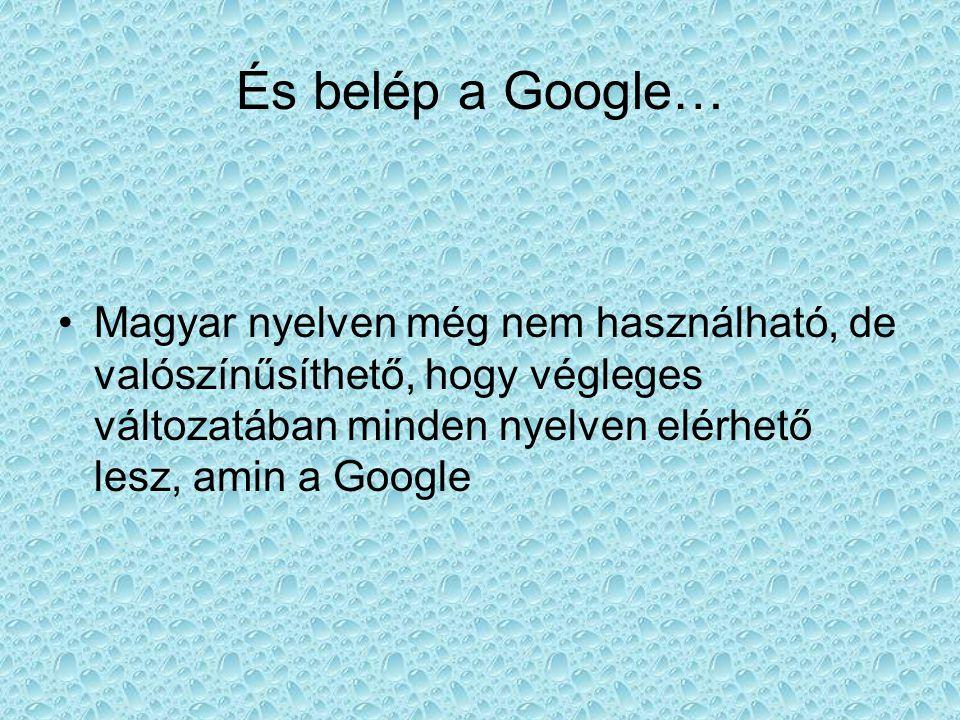 •Magyar nyelven még nem használható, de valószínűsíthető, hogy végleges változatában minden nyelven elérhető lesz, amin a Google