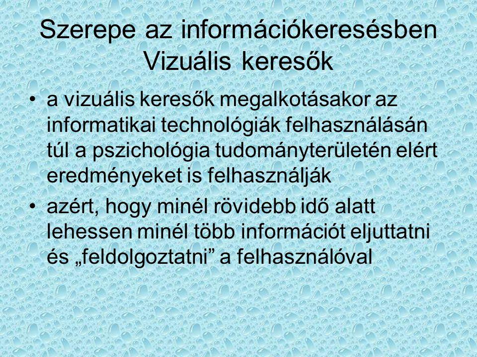 """Szerepe az információkeresésben Vizuális keresők •a vizuális keresők megalkotásakor az informatikai technológiák felhasználásán túl a pszichológia tudományterületén elért eredményeket is felhasználják •azért, hogy minél rövidebb idő alatt lehessen minél több információt eljuttatni és """"feldolgoztatni a felhasználóval"""