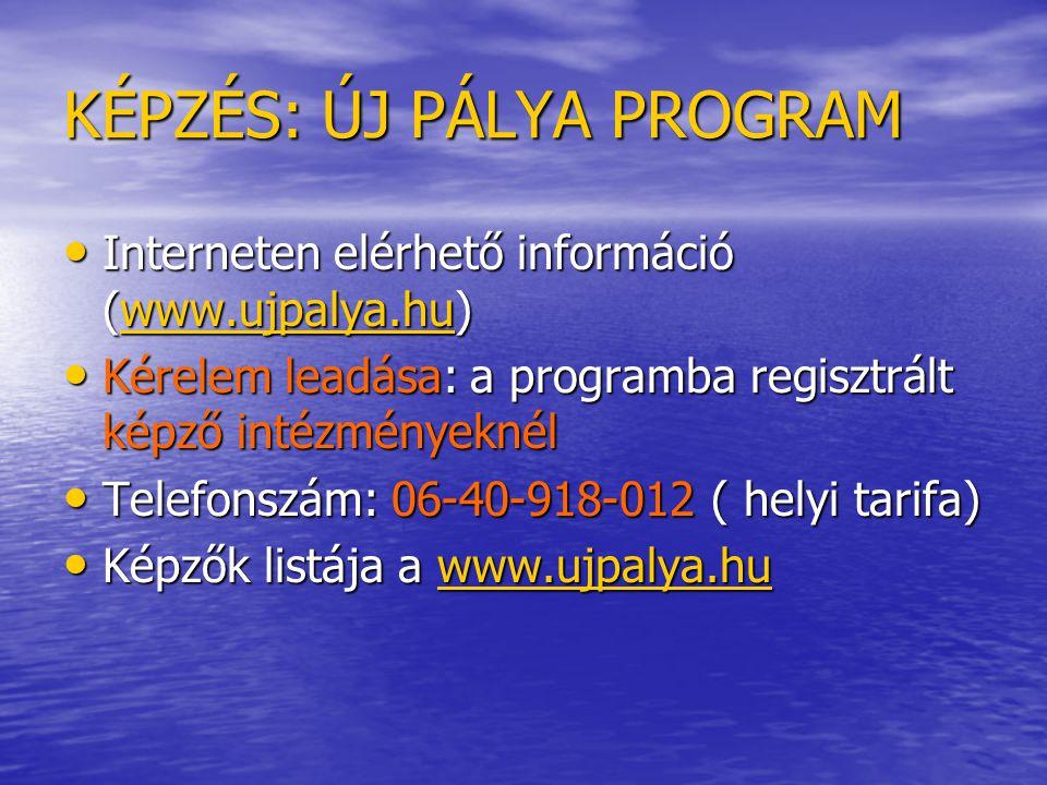 KÉPZÉS: ÚJ PÁLYA PROGRAM • Interneten elérhető információ (www.ujpalya.hu) www.ujpalya.hu • Kérelem leadása: a programba regisztrált képző intézményeknél • Telefonszám: 06-40-918-012 ( helyi tarifa) • Képzők listája a www.ujpalya.hu www.ujpalya.hu