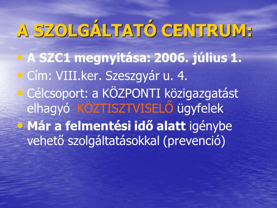 A SZOLGÁLTATÓ CENTRUM: • SZC2 megnyitása: 2006.augusztus vége.