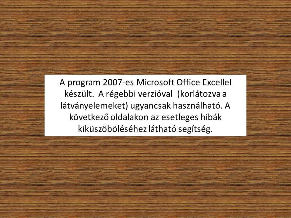 A program 2007-es Microsoft Office Excellel készült. A régebbi verzióval (korlátozva a látványelemeket) ugyancsak használható. A következő oldalakon a