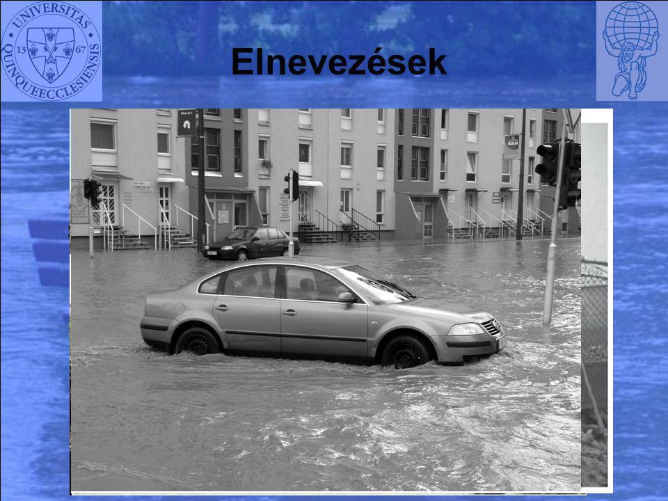 Elnevezések Flash-flood Storm driven flood Debris flow Urban flood Villámárvíz Vihar kiváltotta árvíz Törmelékár Városi árvíz Helyi vízkár