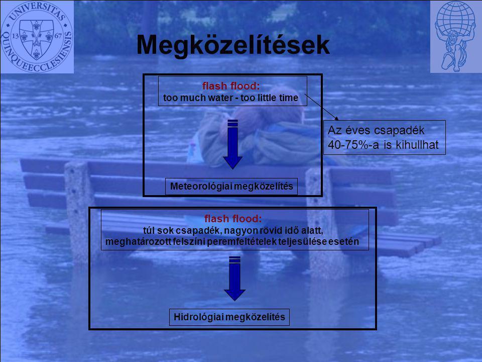 flash flood: too much water - too little time Meteorológiai megközelítés flash flood: túl sok csapadék, nagyon rövid idő alatt, meghatározott felszíni