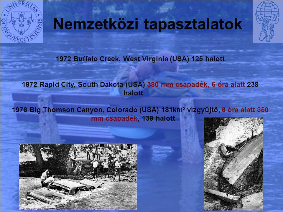 Nemzetközi tapasztalatok 1972 Buffalo Creek, West Virginia (USA) 125 halott 1972 Rapid City, South Dakota (USA) 380 mm csapadék, 6 óra alatt 238 halot