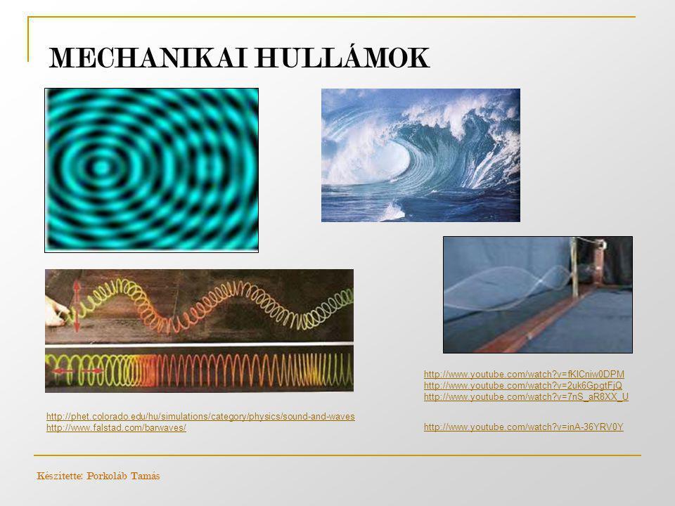 MECHANIKAI HULLÁMOK http://phet.colorado.edu/hu/simulations/category/physics/sound-and-waves http://www.falstad.com/barwaves/ http://www.youtube.com/w