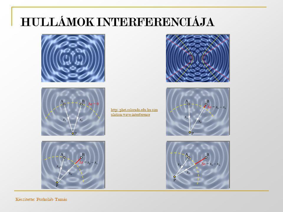 HULLÁMOK INTERFERENCIÁJA http://phet.colorado.edu/hu/sim ulation/wave-interference Készítette: Porkoláb Tamás