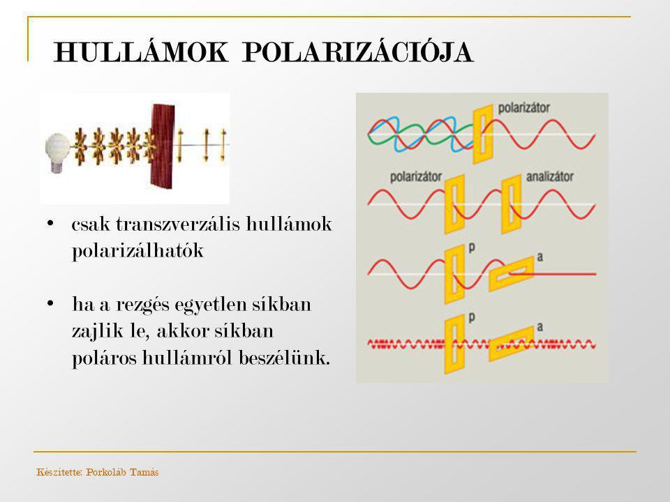 HULLÁMOK POLARIZÁCIÓJA Készítette: Porkoláb Tamás • csak transzverzális hullámok polarizálhatók • ha a rezgés egyetlen síkban zajlik le, akkor síkban