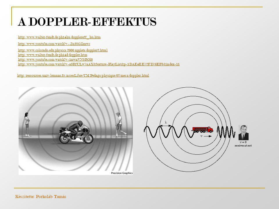 A DOPPLER-EFFEKTUS http://www.walter-fendt.de/ph14hu/dopplereff_hu.htm http://www.youtube.com/watch?v=-Zu5SGllmwc http://www.colorado.edu/physics/2000