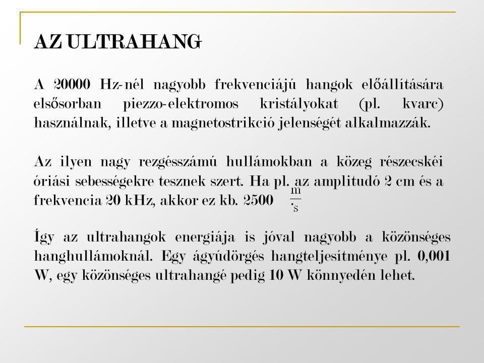 AZ ULTRAHANG A 20000 Hz-nél nagyobb frekvenciájú hangok el ő állítására els ő sorban piezzo-elektromos kristályokat (pl. kvarc) használnak, illetve a