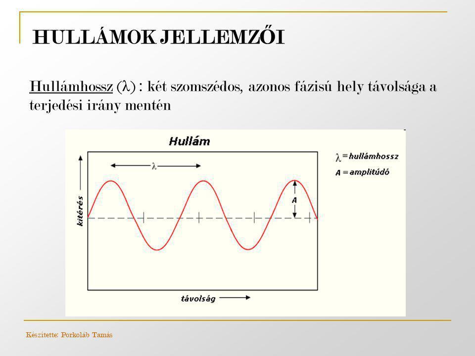 Hullámhossz ( λ ) : két szomszédos, azonos fázisú hely távolsága a terjedési irány mentén HULLÁMOK JELLEMZ Ő I Készítette: Porkoláb Tamás