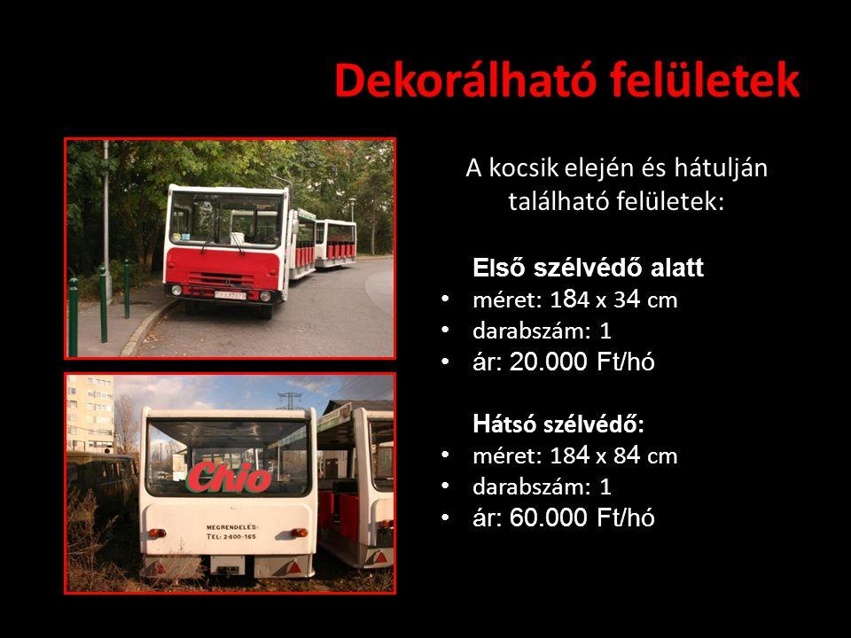 Dekorálható felületek A kocsik elején és hátulján található felületek: E l ső szélvédő alatt • méret: 1 8 4 x 3 4 cm • darabszám: 1 •ár: 20.000 Ft/hó