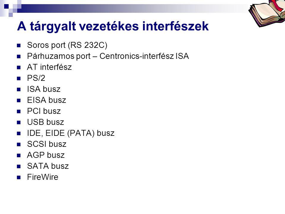 Bóta Laca A tárgyalt vezetékes interfészek  Soros port (RS 232C)  Párhuzamos port – Centronics-interfész ISA  AT interfész  PS/2  ISA busz  EISA