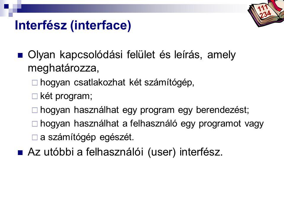Bóta Laca Interfész (interface)  Olyan kapcsolódási felület és leírás, amely meghatározza,  hogyan csatlakozhat két számítógép,  két program;  hog