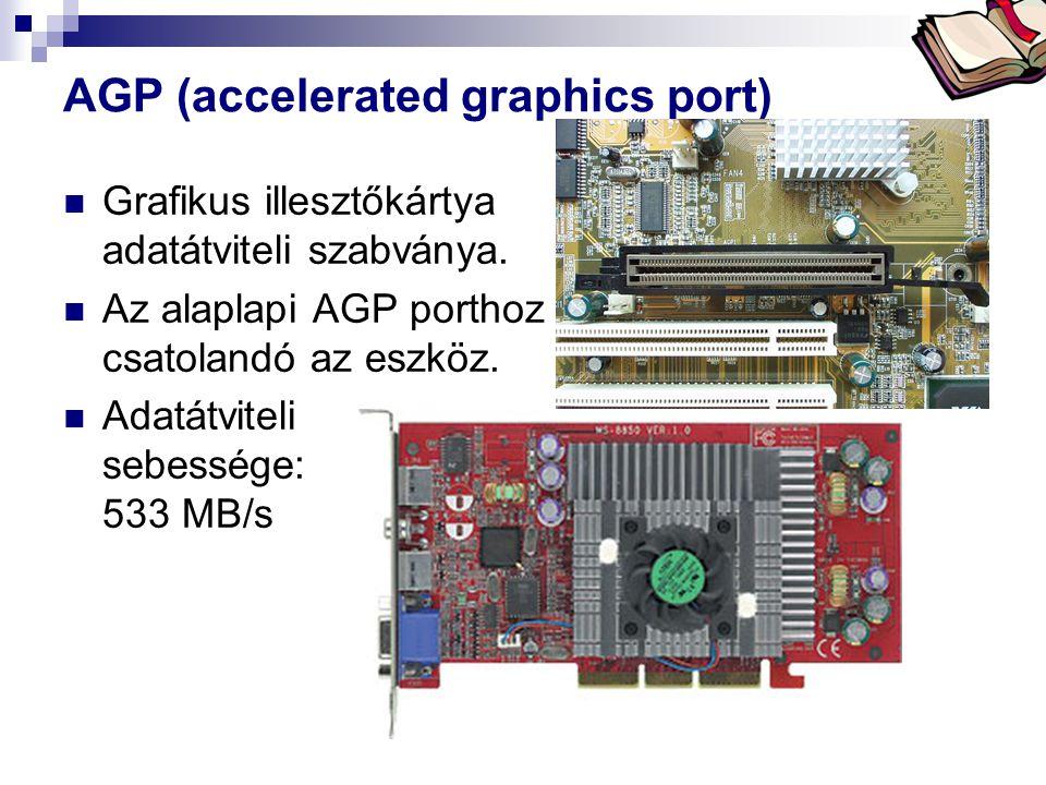 Bóta Laca AGP (accelerated graphics port)  Grafikus illesztőkártya adatátviteli szabványa.  Az alaplapi AGP porthoz csatolandó az eszköz.  Adatátvi