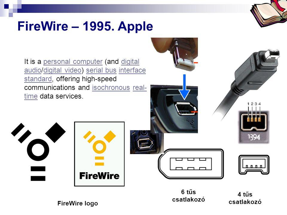 Bóta Laca FireWire – 1995. Apple 6 tűs csatlakozó 4 tűs csatlakozó FireWire logo It is a personal computer (and digital audio/digital video) serial bu