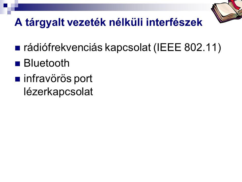 Bóta Laca A tárgyalt vezeték nélküli interfészek  rádiófrekvenciás kapcsolat (IEEE 802.11)  Bluetooth  infravörös port lézerkapcsolat