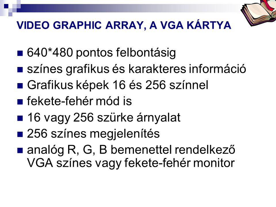 Bóta Laca VIDEO GRAPHIC ARRAY, A VGA KÁRTYA  640*480 pontos felbontásig  színes grafikus és karakteres információ  Grafikus képek 16 és 256 színnel