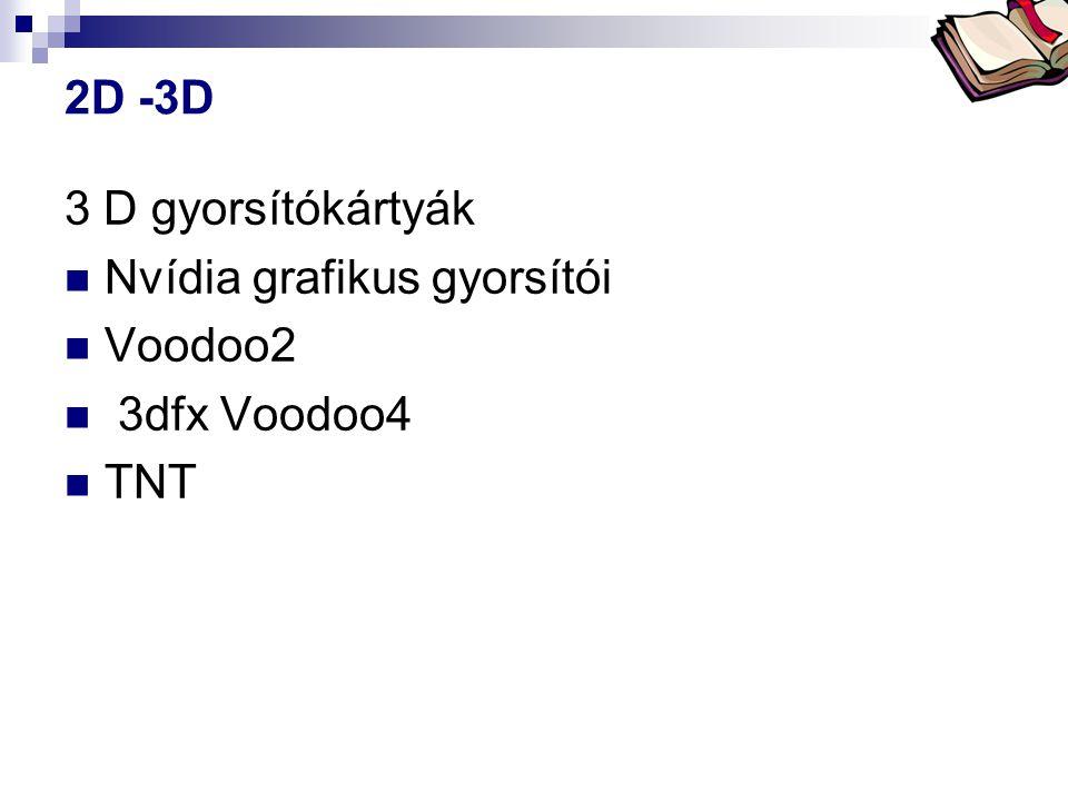 Bóta Laca 2D -3D 3 D gyorsítókártyák  Nvídia grafikus gyorsítói  Voodoo2  3dfx Voodoo4  TNT
