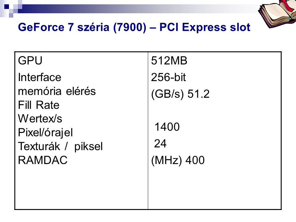 Bóta Laca GeForce 7 széria (7900) – PCI Express slot GPU Interface memória elérés Fill Rate Wertex/s Pixel/órajel Texturák / piksel RAMDAC 512MB 256-b